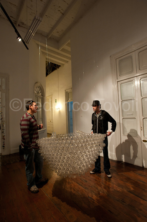 Barranco. Art galleries. During an inauguration at the Cultural Centre Parra Del Riego. Theme recycling