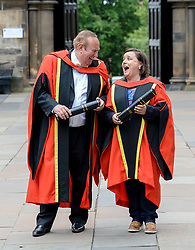 Pictured: Comedian Susan Calman and broadcaster Andrew Neil after getting their honorary degrees from the University of Glasgow.<br /> <br /> &copy; Dave Johnston / EEm