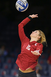 October 7, 2018 - Tucson, AZ, U.S. - TUCSON, AZ - OCTOBER 07: Washington State Cougars defensive specialist Olivia Coale (16) serves the ball during a college volleyball game between the Arizona Wildcats and the Washington State Cougars on October 07, 2018, at McKale Center in Tucson, AZ. Washington State defeated Arizona 3-2. (Photo by Jacob Snow/Icon Sportswire) (Credit Image: © Jacob Snow/Icon SMI via ZUMA Press)