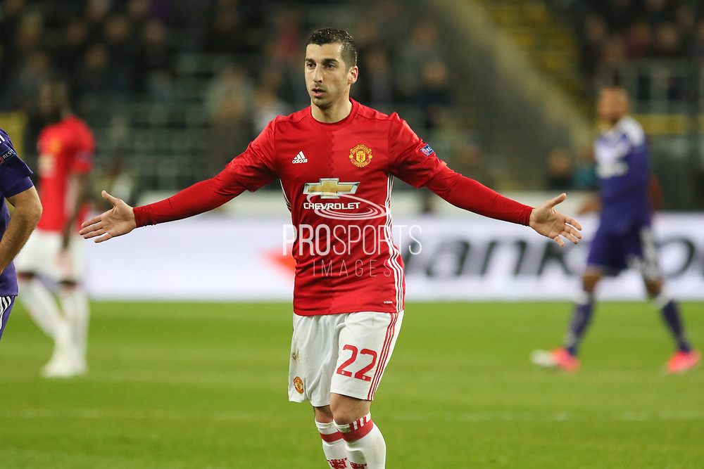 Henrikh Mkhitaryan Midfielder of Manchester United during the UEFA Europa League Quarter-final, Game 1 match between Anderlecht and Manchester United at Constant Vanden Stock Stadium, Anderlecht, Belgium on 13 April 2017. Photo by Phil Duncan.