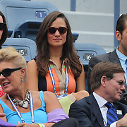 Pippa Middleton watches the US Open with tennis player Spencer Vegosen during the Victoria Azarenka, Belarus,  Quarter Final victory over Samantha Stosur, Australia, during the US Open Tennis Tournament, Flushing, New York. USA. 4th September 2012. Photo Tim Clayton