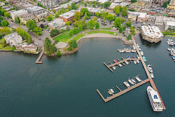 United States, Washington, Kirkland and Lake Washington (aerial view)