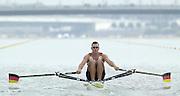 Photo Peter Spurrier.15/09/2002.2002 World Rowing Championships - Seville - Spain. GER M1X Marcel HACKER. [Mandatory Credit: Peter Spurrier/Intersport Images] [Mandatory Credit: Peter SPURRIER/Intersport Images]<br /> <br /> 20020921 World Rowing Championships Seville, SPAIN