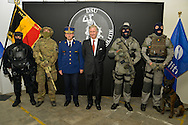 King Philippe of Belgium visit today the DSU Division Specials Units of the Federal Police in Brussels.<br /> with the minister of justice Koen Geens and minister of interior Jan Jambon and the direction of the Federal Policy. Brussels, 10 november 2015, Belgium