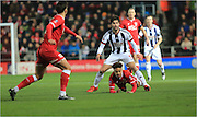 Claudio Yacob, Bobby Reid during the The FA Cup Third Round Replay match between Bristol City and West Bromwich Albion at Ashton Gate, Bristol, England on 19 January 2016. Photo by Daniel Youngs.