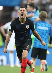 MOSCOW, July 11, 2018  Dejan Lovren (front) of Croatia celebrates victory after the 2018 FIFA World Cup semi-final match between England and Croatia in Moscow, Russia, July 11, 2018. Croatia won 2-1 and advanced to the final. (Credit Image: © Cao Can/Xinhua via ZUMA Wire)