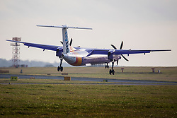 © Licensed to London News Pictures. 13/01/2020. Leeds UK. A flybe aircraft arriving from Belfast City at Leeds Bradford airport this morning as the company holds rescue talks. Flybe, Europe's largest regional airline, is scrambling to stave off a collapse that would put 2,000 jobs at risk. The airline operates more UK domestic flights than any other, and is in talks over potential emergency financing after suffering rising lossesPhoto credit: Andrew McCaren/LNP