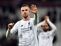 Football - 2019 / 2020 Premier League - West Ham United vs. Liverpool<br /> <br /> Liverpool's Jordan Henderson salutes the fans after their 2-0 victory, at The London Stadium.<br /> <br /> COLORSPORT/ASHLEY WESTERN