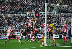 NEWCASTLE, ENGLAND - Sunday, March 4, 2012: Newcastle United's Papiss Cisse sees his header hit the crossbar against Sunderland during the Premiership match at St. James' Park. (Pic by David Rawcliffe/Propaganda)