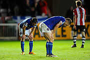 Carlisle players look heart broken as Exeter score the second goal during the EFL Sky Bet League 2 play off second leg match between Exeter City and Carlisle United at St James' Park, Exeter, England on 18 May 2017. Photo by Graham Hunt.