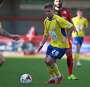 Accrington Stanley striker Billy Kee looks for an opening during the Sky Bet League 2 match between Crawley Town and Accrington Stanley at the Checkatrade.com Stadium, Crawley, England on 26 September 2015. Photo by Bennett Dean.