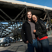 """October 14, 2012 - New York, NY : Artsicle co-founders and CTO's Scott Carleton, left, and Alex Tryon pose for a portrait in Gowanus, Brooklyn, on Saturday afternoon. The couple, along with creative director Dan Teran (not pictured) spent Saturday afternoon touring artist studios during the """"Gowanus Open Studios"""" arts walk in Brooklyn. Their company, Artsicle, which they founded in 2010, rents works of art to individuals and corporations. CREDIT: Karsten Moran for The New York Times"""