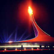 The Olympic cauldron burns Saturday, Feb. 8, 2014. Photographed during the Winter Olympics in Sochi, Russia with an iPhone and Instragram. (Brian Cassella/Chicago Tribune) B583527420Z.1 <br /> ....OUTSIDE TRIBUNE CO.- NO MAGS,  NO SALES, NO INTERNET, NO TV, CHICAGO OUT, NO DIGITAL MANIPULATION...