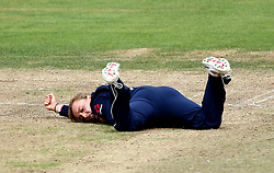 Danielle Hazell of England Women cuts a dejected figure after dropping a catch off her own bowling - Mandatory by-line: Robbie Stephenson/JMP - 09/07/2017 - CRICKET - Bristol County Ground - Bristol, United Kingdom - England v Australia - ICC Women's World Cup match 19