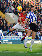 Nelson Oliveira of Nottingham Forest heads for goal during the Sky Bet Championship match at Hillsborough, Sheffield<br /> Picture by Graham Crowther/Focus Images Ltd +44 7763 140036<br /> 31/10/2015