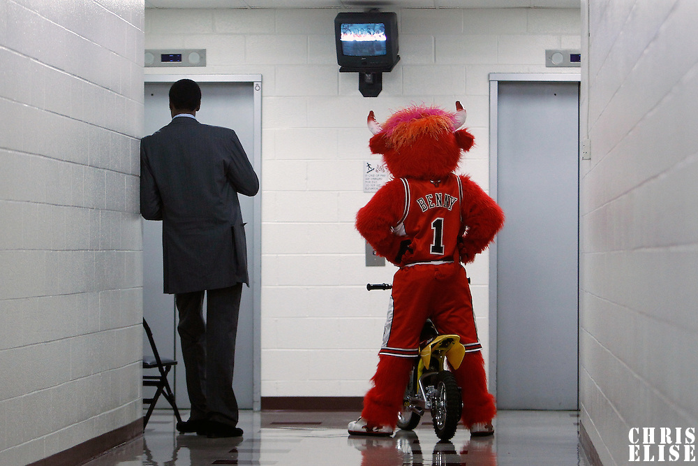 10 May 2011: Former Chicago Bulls Scottie Pippen and mascot are waiting for an elevator prior to the Chicago Bulls 95-83 victory over the Atlanta Hawks, during game 5 of the Eastern Conference semi finals at the United Center, Chicago, Illinois, USA.