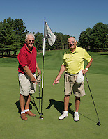 Tom Byrne and Dave Clark at Laconia Country Club where they each hit a hole in one back to back on the 7th hole during their weekly Senior League.  (Karen Bobotas/for the Laconia Daily Sun)