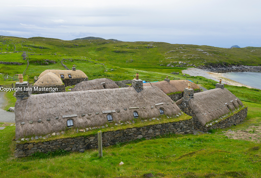 Traditional blackhouse  cottages at Gearrannan blackhouse village on Isle of Lewis in Outer Hebrides Scotland United Kingdom