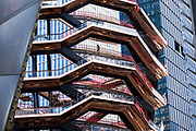 The Vessel public structure and landmark designed by architect Thomas Heatherwick, under construction as part of the Hudson Yards redevelopment by The High Line, Manhattan, New York