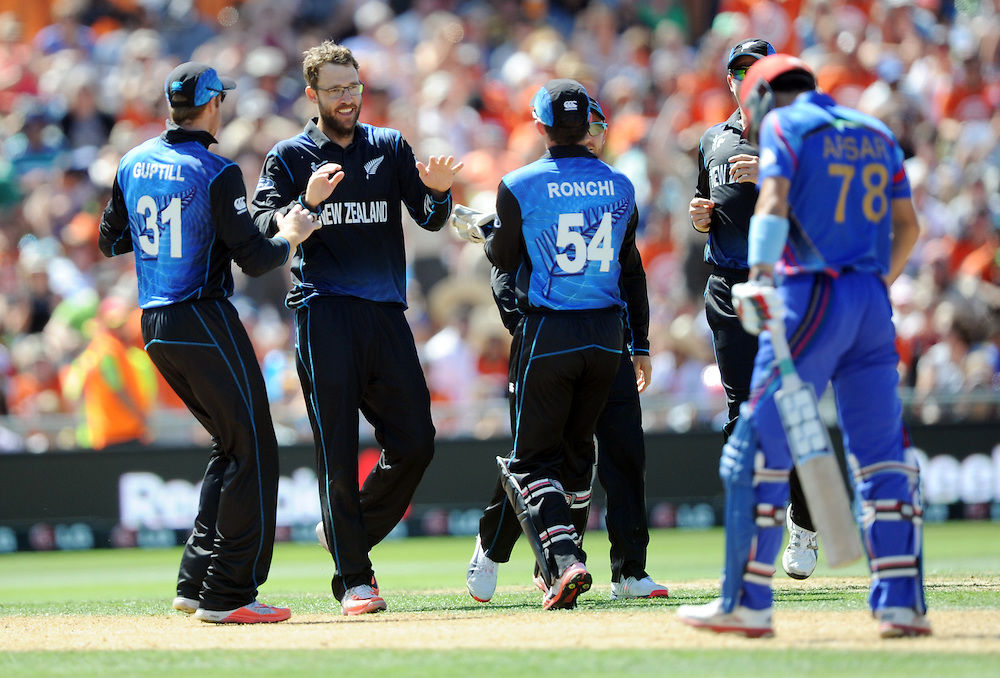 New Zealand's Daniel Vettori after taking the wicket of Afghanistan's Afsar Khan Zazai for 0 in the ICC Cricket World Cup at McLean Park, Napier, New Zealand, Sunday, March 08, 2015. Credit:SNPA / Ross Setford