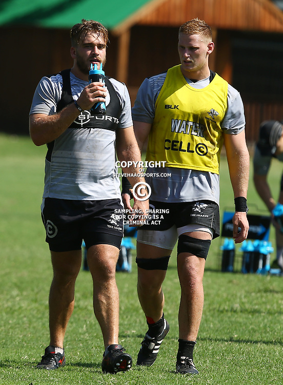 DURBAN, SOUTH AFRICA, 4 April, 2016 - Dale Chadwick with Jean-Luc du Preez during The Cell C Sharks training session  at Growthpoint Kings Park in Durban, South Africa. (Photo by Steve Haag)<br /> images for social media must have consent from Steve Haag