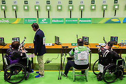Jazmin Almlie of USA, Francek Gorazd Tirsek - Nani of Slovenia and Michael Johnson of New Zealand during Qualification of R5 - Mixed 10m Air Rifle Prone SH2 on day 6 during the Rio 2016 Summer Paralympics Games on September 13, 2016 in Olympic Shooting Centre, Rio de Janeiro, Brazil. Photo by Vid Ponikvar / Sportida