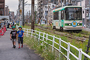 A tram on the Toden Arakawa line in Tokyo, Japan Friday October 12th 2012