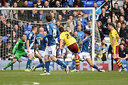 Burnley midfielder George Boyd scores opening goal 0-1during the Sky Bet Championship match between Birmingham City and Burnley at St Andrews, Birmingham, England on 16 April 2016. Photo by Alan Franklin.