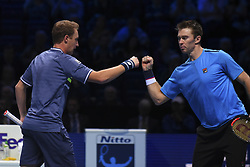November 19, 2017 - London, England, United Kingdom - Henri Kontinen of Finland and John Peers of Australia in action against Lukasz Kubot of Poland and Marcelo Melo of Brazil (1) in the doubles final today - Kontinen / Peers def Kubot / Melo 6-4, 6-2 at O2 Arena on November 19, 2017 in London, England. (Credit Image: © Alberto Pezzali/NurPhoto via ZUMA Press)