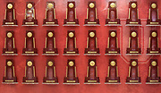 General overall view of NCAA Championship trophies won by the Southern California Trojans on display at the Galen Center  in Los Angeles, Tuesday, Nov. 6, 2018.
