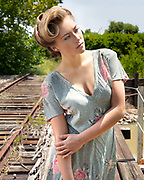 1940s period fashion photography by Gerard Harrison, Image Theory Photoworks, to promote historical aspect of fashion show Sweet Side of Fashion at old Imperial Sugar plant, Sugar  Land, Texas.  Promotor When Worlds Collide.  Makeup and hair by Dorothy Strouhal, YourMakeupExpert.com, Brenna Smith