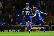 Josh Law of Oldham Athletic celebrates scoring to make it 2-1 with Lee Erwin of Oldham Athletic during the EFL Cup match between Oldham Athletic and Wigan Athletic at Boundary Park, Oldham, England on 9 August 2016. Photo by Simon Brady.