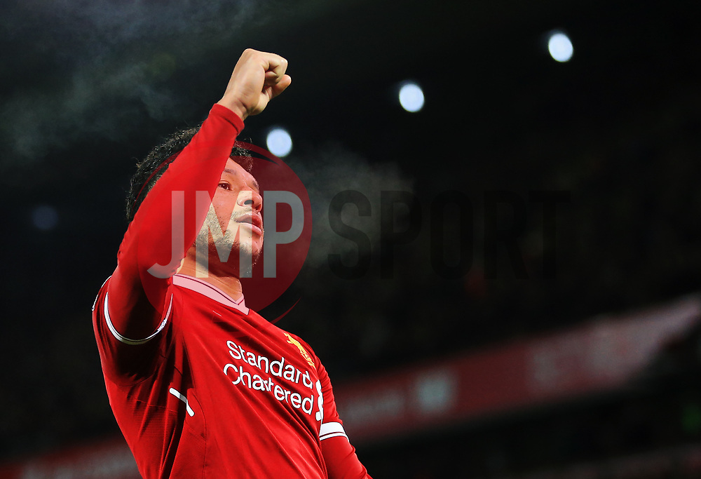 Alex Oxlade-Chamberlain of Liverpool celebrates after scoring his sides fifth goal - Mandatory by-line: Matt McNulty/JMP - 26/12/2017 - FOOTBALL - Anfield - Liverpool, England - Liverpool v Swansea City - Premier League