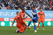 Wigan's Jamie Jones blocked during the EFL Sky Bet Championship match between Wigan Athletic and Ipswich Town at the DW Stadium, Wigan, England on 23 February 2019.