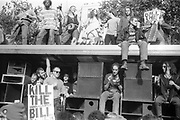 Side shot of ravers on their van, 3rd Criminal Justice March,  London, 9th of October, 1994