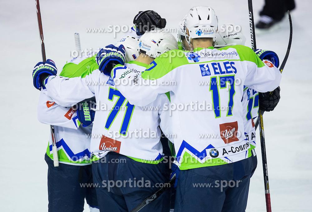 Players of Slovenia celebrate after scoring second goal during ice-hockey friendly match between National teams of Slovenia and Austria, on April 19, 2015 in Hala Tivoli, Ljubljana, Slovenia. Photo by Vid Ponikvar / Sportida