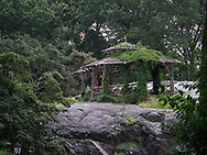 Rustic shelter at the Dene, Central Park.