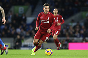 Liverpool striker Roberto Firmino (9) during the Premier League match between Brighton and Hove Albion and Liverpool at the American Express Community Stadium, Brighton and Hove, England on 12 January 2019.