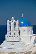 The blue domed church of  Panaghia Poulati, Sifnos, The Cyclades, Greek Islands, Greece, Europe