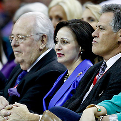 November 9, 2012; New Orleans, LA, USA; New Orleans Hornets owners Tom Benson and Gayle Benson sit with director of basketball operations Mickey Loomis during the first half of a game against the Charlotte Bobcats at the New Orleans Arena. Mandatory Credit: Derick E. Hingle-US PRESSWIRE