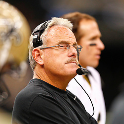 August 17, 2012; New Orleans, LA, USA; New Orleans Saints assistant head coach and linebackers coach Joe Vitt during the second half of a preseason game against the Jacksonville Jaguars at the Mercedes-Benz Superdome. The Jaguars defeated the Saints 27-24.  Mandatory Credit: Derick E. Hingle-US PRESSWIRE