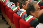 Audience of Mayors at Lombardy Region headquarter for a demonstration of Mayors called by Anci (National association of municipality) against the government's operation and expected cuts to local administrations, Milan, August, 29, 2011. © Carlo Cerchioli..La platea di sindaci alla sede della regione Lombardia per la manifestazione nazionale indetta dall'Anci (associazione dei comuni italiani) per protestare contro i tagli previsti dalla manovra finanziaria agli enti locali, Milano, 29 aagosto 2011.