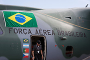 The Brazilian Air Force's Embraer KC-390 at the Farnborough Airshow, on 16th July 2018, in Farnborough, England. (Photo by Richard Baker / In Pictures via Getty Images)