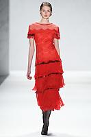 Johanna Gronholm walks down runway for F2012 Tadashi Shoji's collection in Mercedes Benz fashion week in New York on Feb 9, 2012 NYC