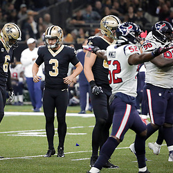 Sep 9, 2019; New Orleans, LA, USA; New Orleans Saints kicker Wil Lutz (3) reacts after missing a field goal attempt at the end of the second quarter against the Houston Texans at the Mercedes-Benz Superdome. Mandatory Credit: Derick E. Hingle-USA TODAY Sports