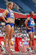 Dafne Schippers of the Netherlands, Shelly-Ann Fraser-Pryce of Jamaica, 100m Women Heat 1, during the Muller Anniversary Games 2019 at the London Stadium, London, England on 21 July 2019.