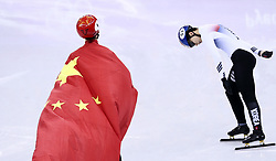 PYEONGCHANG, Feb. 22, 2018  Wu Dajing (L) of China celebrates victory after men's 500m final of short track speed skating at the 2018 PyeongChang Winter Olympic Games at Gangneung Ice Arena, Gangneung, South Korea, Feb. 22, 2018. Wu Dajing claimed gold medal in a time of 0:39.584 and set new world record. (Credit Image: © Lan Hongguang/Xinhua via ZUMA Wire)