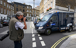 © Licensed to London News Pictures. 20/08/2018. London, UK. A convoy of armoured police vehicles carrying Westminster terrorist attack suspect Salih Khater leaves Westminster Magistrates Court in London where he faced charges. 29 year-old, Sudanese-born Salih Khater is accused of driving his car at pedestrians and a security barrier at the Houses Of Parliament in London on August 14th, 2018. Photo credit: Ben Cawthra/LNP