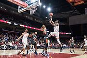 Southern California Trojans forward Onyeka Okongwu (21) shoots over Pepperdine Waves forward Kameron Edwards (20) during an NCAA college basketball game, Tuesday, Nov. 19, 2019, in Los Angeles. USC defeated Pepperdine 91-84. (Jon Endow/Image of Sport)