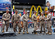 © Licensed to London News Pictures. 27/05/2012. New York, USA. Members of the US Marines prepare for a recruitment exercise in New York's Times Square today 27 May 2012.  Photo credit : Stephen Simpson/LNP